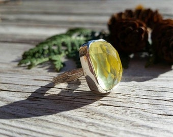 Lemon Quartz twig ring in Sterling silver silver