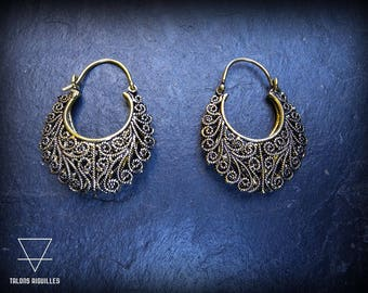 Boucles d'oreille laiton  # brass earrings # tribal hoop # ethnic earrings # indian style earrings