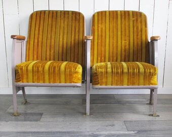 A Pair of Mid Century Upholstered Theater Seats, Cinema Seats, Home Theater Chairs