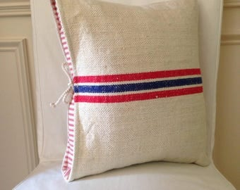 Grain sack pillow cover sack pillow vintage pillow ticking pillow stripe pillow cover
