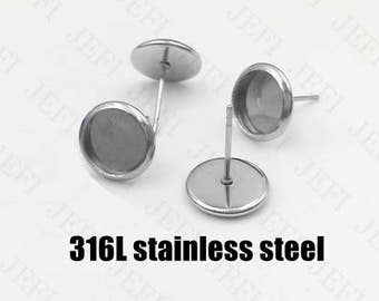100 Earring Posts- 316L Stainless Steel Ear Studs W/ 6mm/ 8mm/ 10mm/ 12mm/ 14mm/ 16mm/ 18mm/ 20mm Round Bezel Setting Wholesale Earrings
