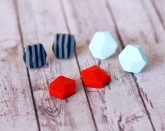 Geometric posts earrings, set of three, Diamond shape studs, Rock studs, Earring Studs - grey and dark blue stripes,light blue, red