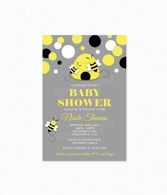 bumble bee baby shower invitation yellow black polka dots, Baby shower invitations