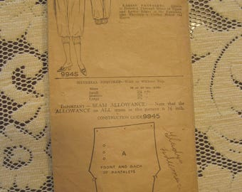 Vintage Rare 1910s Pictorial Review Pattern 9945 Ladies Pantalets Bloomers Knickers Size 30 Waist Medium