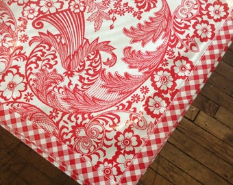 Square Oilcloth Tablecloth Toile Red with Red Gingham Trim
