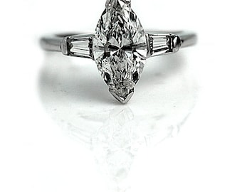 Marquis Engagement Ring 1.57ctw Vintage Diamond Ring GIA Marquis Diamond Ring Baguette 14 kt White Gold Marquis Ring Size 4!