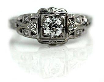 Antique Engagement Ring Art Deco Diamond .48ctw Vintage Diamond Ring Old European Cut Diamond 14K White Gold Art Deco Filigree Ring Size 7!