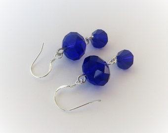 Royal Blue Earrings Handmade, Blue Drop Earrings, Blue Dangle Earrings, Glass Bead Earrings Blue Glass Earrings Sterling Silver