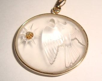 Lalique Glass Dove Pendant Small diamond for Nina Ricci