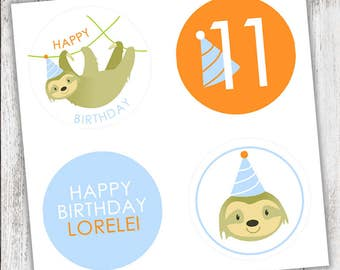 Sloth #Party #Stickers, Gift #Tags or Cupcake #Toppers