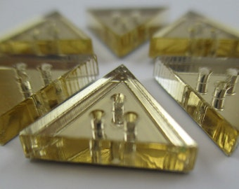 6 pcs Acrylic Triangle Buttons - 15mm - Plexiglass Button - Plastic Button - Fashion Scrapbooking sewing - Golden Mirror (BUP012GM)