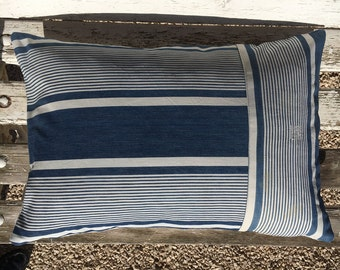 French Ticking Stripe Pillow Cushion Cover  16 x 24 inch 40 x 60 cm  Blue and White .