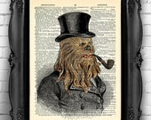 Chewbacca Star Wars Art Print on Dictionary Page, Star Wars POSTER, Geeky Art Geek Wall Art Gift Man Funny Office Decal Star Wars Art 012