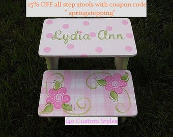 Steps & Stools, Kids Furniture, Pink Floral, childs stool, BENCH, Bathroom Stools, Nursery, Personalized