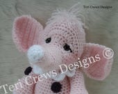 FLASH SALE Crochet Pattern Cute Elephant PDF Instant Download Teri Crews Wool and Whims Tutorial Instructions