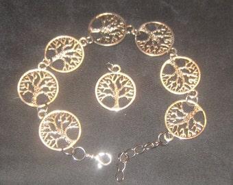 Adjustable SILVER tone Ireland Irish Celtic Tree Of Life Link Bracelet and Pendant Set