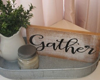 Hand Painted Wood Sign Gather