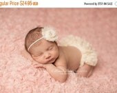 ON SALE Ivory Lace Bloomer and headband set, newborn photo prop, diaper cover, baby bloomer, photography prop