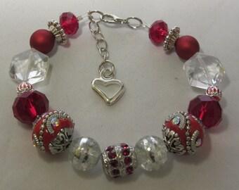 Red and White Valentine Beaded Bracelet