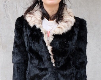 Vtg BLACK RABBIT With White FOX Trim Jacket