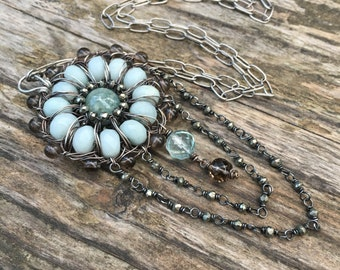 Aquamarine Necklace - Long Boho Chic Necklace - Mandala -  Blue Green Gemstone  and Sterling Silver Necklace - Bohemian Jewelry