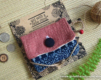Dusty Pink Hmong Indigo Small Purse - Tribal Ethnic Coin Purse Card Wallet