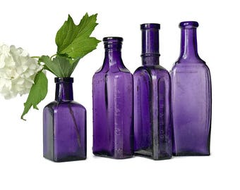 4 Old Purple Bottle Collection Antique Purple Apothecary Bottles Rustic Wedding Decor Decorative  Bottle Vases Violet Lavender Glass Bottles
