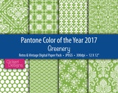 Greenery Digital Paper Pack Pantone Colour of the Year 2017 Retro and Vintage Patterns