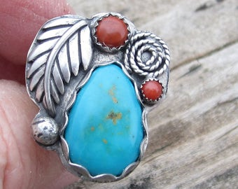 Native American Inspired Ring Turquoise Ring Red Jasper Ring Red Coral Ring Sterling Silver Ring Size 6 1/2 Ring