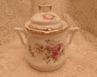 Vintage Floral Sugar Bowl with Chrysanthemums