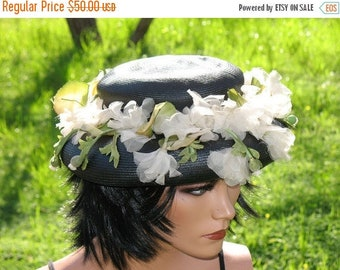 Fabulous 40s  Antique Spring Fling Woven Straw Silk Flower Tilt  Hat In Amazing Condition WOW Styled By Coralie