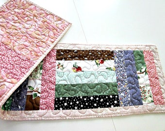 Handmade Quilted Table Runner, Featuring Susan Branch Fabrics - Reversable Table Runner, Dresser Runner with  InsulBrite Thermal Batting