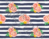 Navy Coral Mustard and Green Stripe and Watercolor Floral 4 Way Stretch Jersey Knit Fabric, By Gwyneth LaSpina for Club Fabrics, PRE-ORDER