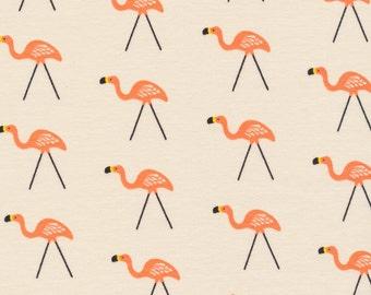 Cream Bright Coral and Yellow Flamingo Bird Organic Cotton Interlock Knit, Sidewalk by Rae Hoekstra for Cloud 9 Fabrics, 1 Yard