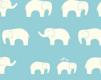 Aqua Blue and Cream Elephant Family Organic Cotton Double Gauze For Birch Fabrics, 1 Yard