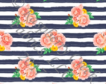 Navy Coral Mustard and Green Stripe and Watercolor Floral 4 Way Stretch Jersey Knit Fabric, By Gwyneth LaSpina for Club Fabrics