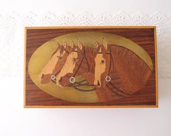 Inlaid wood Horses on Brass vintage Cedar Trinket Box