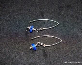 Sterling Sea Glass Earrings  -  Lake Erie Beach Glass - Pierced Earrings - Cobalt Blue Sea Glass - FREE Shipping inside the United States