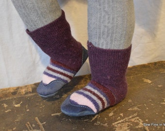 Toddler size 5.5 (EU 21) SUGAR PLUM Felted Wool Soccasins with Leather Soles, Toes and Heels