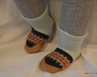 Toddler size 5.5 (EU 21) TRACKERS Felted Wool Soccasins with Leather Soles, Toes and Heels