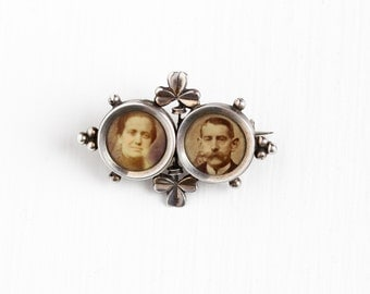 Antique Silver Shamrock Double Photographic Brooch Pin - Vintage Edwardian 1910s Man & Woman Photo European Irish Three Leaf Clover Jewelry