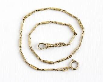 Vintage 14k Yellow Gold Filled Pocket Watch Chain - Antique Art Deco 1920s Choker Necklace Bracelet Panel Swivel Clip Forstner Jewelry