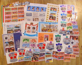 Queen Elizabeth Silver Jubilee Mega Mix 101 MNH Vintage Great Britain Postage Stamps Queen Princess Mothers Day Scrapbooking UK Philately
