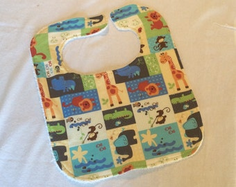 Adjustable zoo animal baby bib