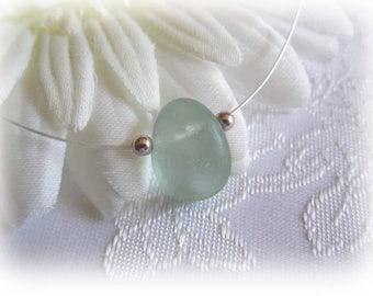 Aqua Blue Beach Glass Floating Necklace