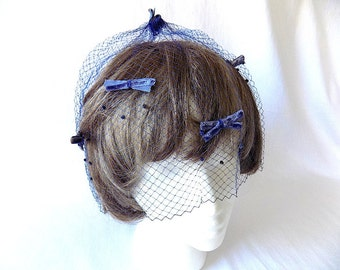 Vintage Birdcage Veil with Bows in Blue