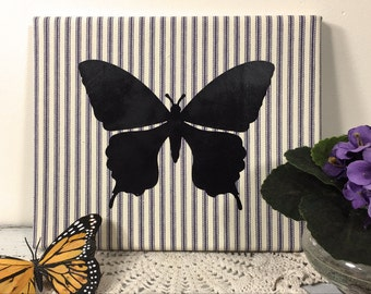 Butterfly Wall Art Nursery Decor, Farmhouse Wall Hanging, Cottage Wall Decor, Realistic Butterfly Silhouette, Navy Stripe Ticking  (0173bN)