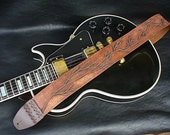 "Handmade leather guitar strap. ""Into the Wild""."