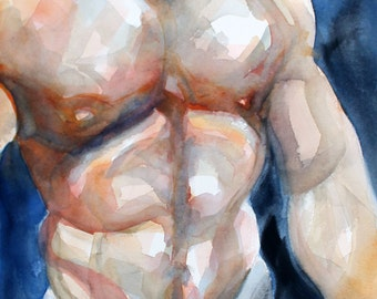 Beefcake, watercolor and crayon on 11x14 inch cotton paper by Kenney Mencher