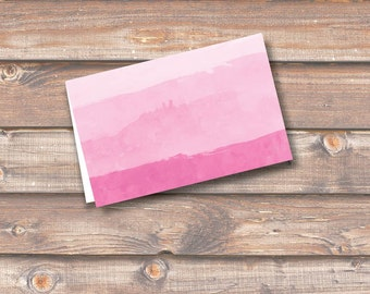 """Pink Watercolor Ombre Place Cards Printable Food Tags Menu Place Card Wedding Baby Shower Birthday 3.5 x 2.25"""" Tent Style INSTANT DOWNLOAD"""